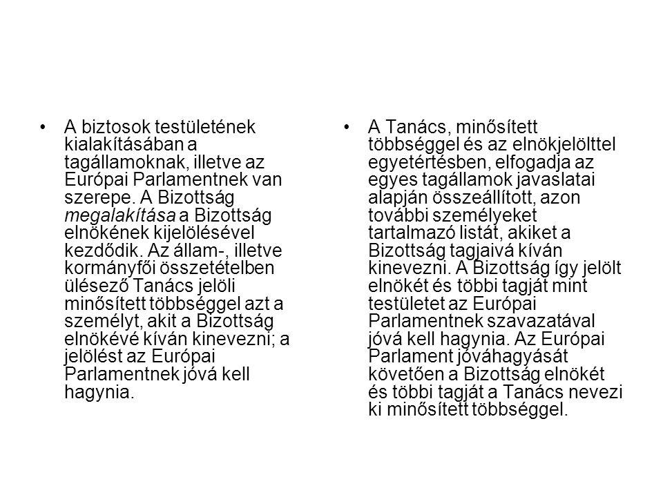 A biztosok testületének kialakításában a tagállamoknak, illetve az Európai Parlamentnek van szerepe.
