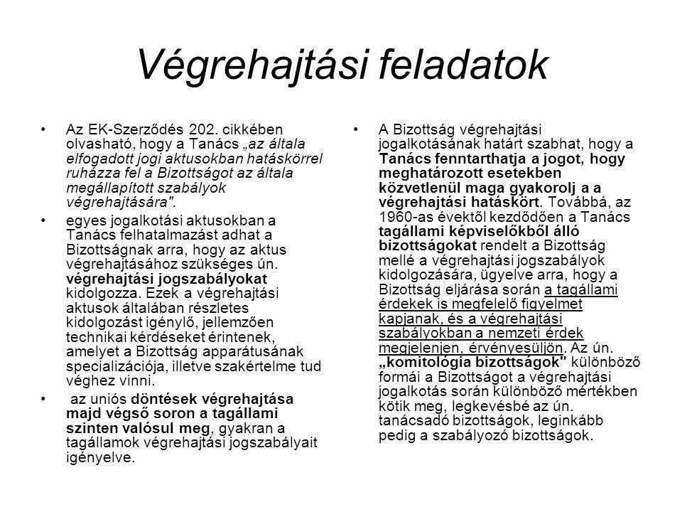 """Végrehajtási feladatok Az EK-Szerződés 202. cikkében olvasható, hogy a Tanács """"az általa elfogadott jogi aktusokban hatáskörrel ruházza fel a Bizottsá"""
