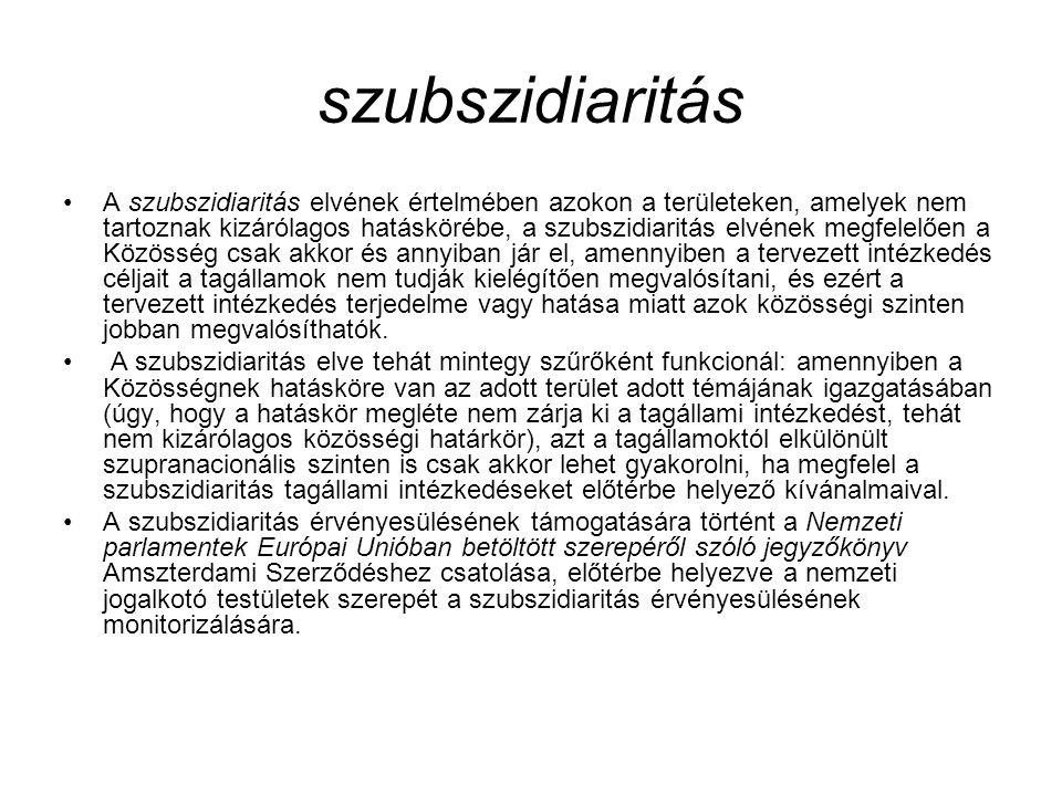 szubszidiaritás A szubszidiaritás elvének értelmében azokon a területeken, amelyek nem tartoznak kizárólagos hatáskörébe, a szubszidiaritás elvének me