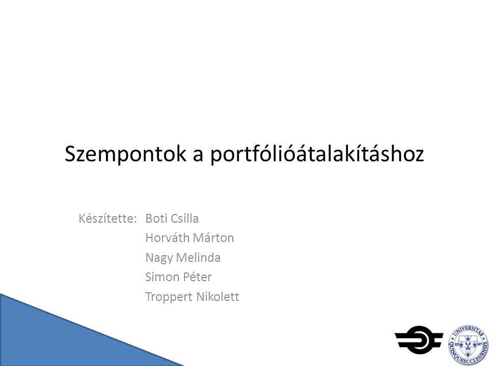 Szempontok a portfólióátalakításhoz Készítette: Boti Csilla Horváth Márton Nagy Melinda Simon Péter Troppert Nikolett
