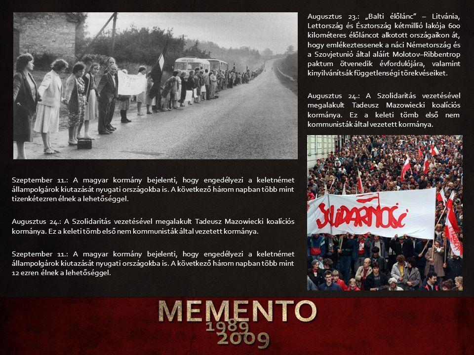 """Augusztus 23.: """"Balti élőlánc"""" – Litvánia, Lettország és Észtország kétmillió lakója 600 kilométeres élőláncot alkotott országaikon át, hogy emlékezte"""