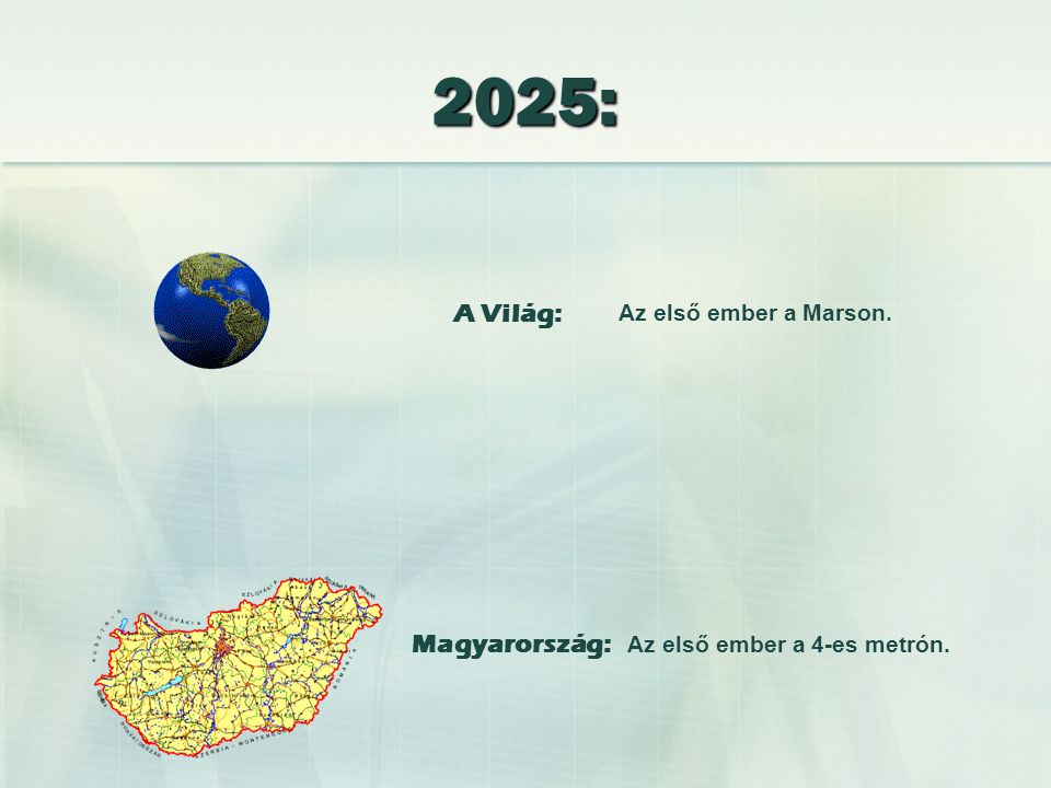 Az első ember a Marson. Az első ember a 4-es metrón. 2025: A Világ: Magyarország: