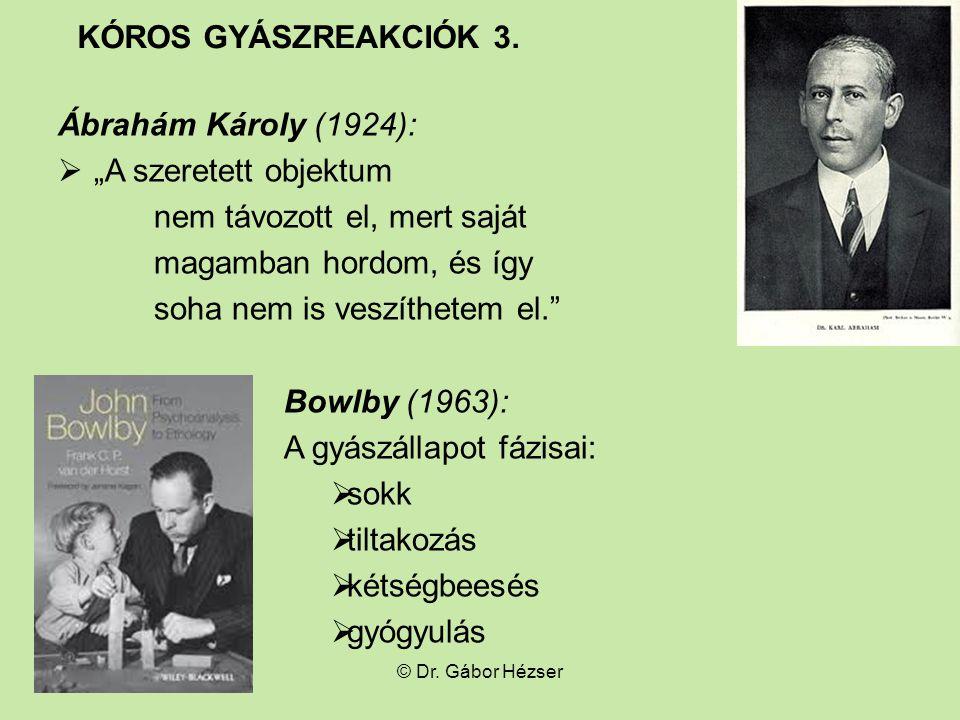 """Ábrahám Károly (1924):  """"A szeretett objektum nem távozott el, mert saját magamban hordom, és így soha nem is veszíthetem el. Bowlby (1963): A gyászállapot fázisai:  sokk  tiltakozás  kétségbeesés  gyógyulás © Dr."""