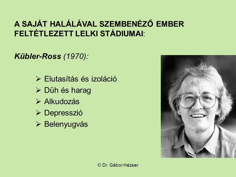 A SAJÁT HALÁLÁVAL SZEMBENÉZŐ EMBER FELTÉTLEZETT LELKI STÁDIUMAI: Kübler-Ross (1970):  Elutasítás és izoláció  Düh és harag  Alkudozás  Depresszió  Belenyugvás © Dr.