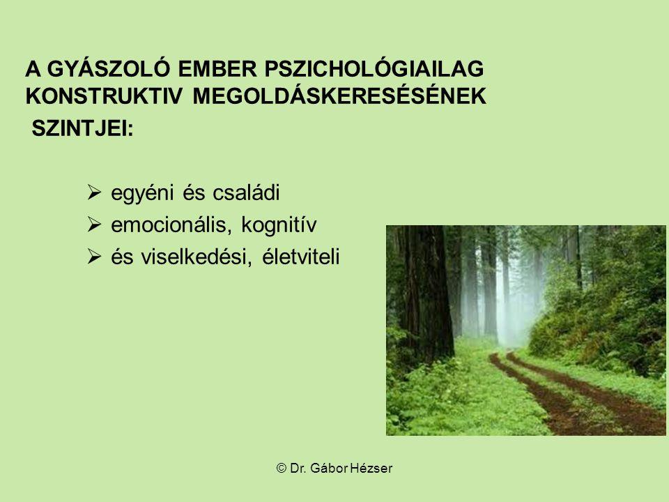 A GYÁSZOLÓ EMBER PSZICHOLÓGIAILAG KONSTRUKTIV MEGOLDÁSKERESÉSÉNEK SZINTJEI:  egyéni és családi  emocionális, kognitív  és viselkedési, életviteli © Dr.