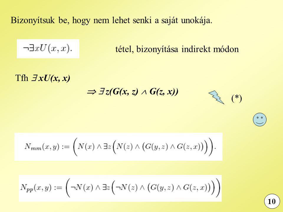 10 tétel, bizonyítása indirekt módon Tfh  xU(x, x)   z(G(x, z)  G(z, x)) (*) Bizonyítsuk be, hogy nem lehet senki a saját unokája.