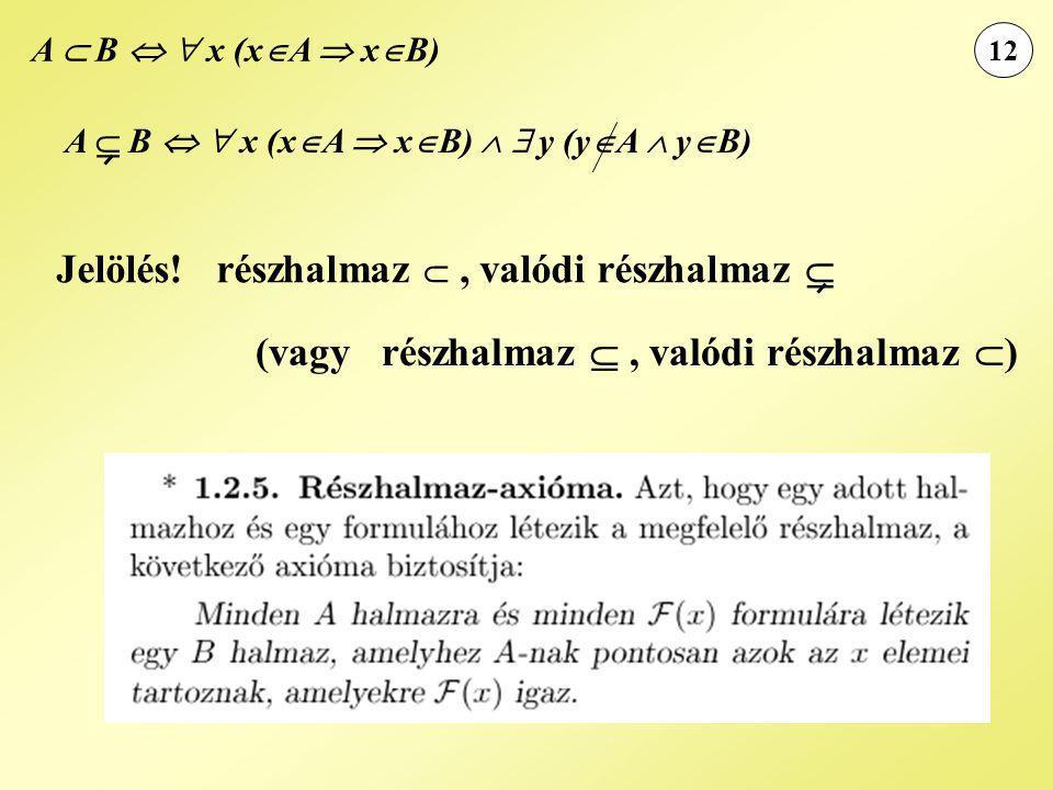 12 Jelölés! részhalmaz , valódi részhalmaz  (vagy részhalmaz , valódi részhalmaz  ) A  B   x (x  A  x  B) A  B   x (x  A  x  B)   y
