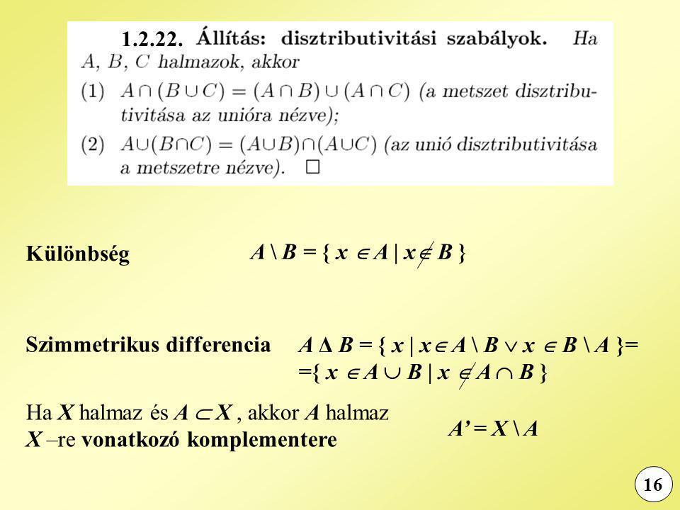 16 Különbség A \ B = { x  A | x  B } Szimmetrikus differencia A Δ B = { x | x  A \ B  x  B \ A }= ={ x  A  B | x  A  B } Ha X halmaz és A  X