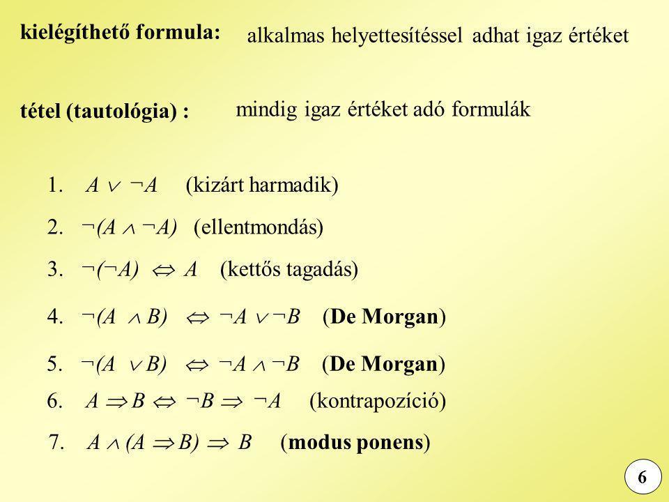 6 alkalmas helyettesítéssel adhat igaz értéket tétel (tautológia) : kielégíthető formula: mindig igaz értéket adó formulák 1. A  ¬A (kizárt harmadik)