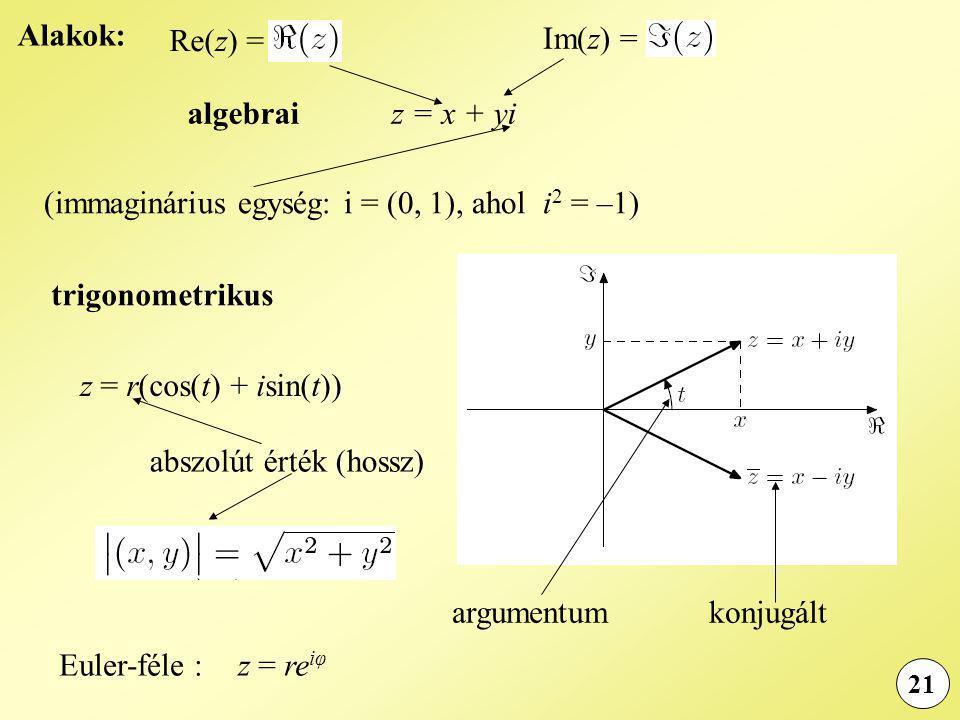 21 Alakok: algebraiz = x + yi trigonometrikus z = r(cos(t) + isin(t)) Euler-féle :z = re iφ (immaginárius egység: i = (0, 1), ahol i 2 = –1) Re(z) = Im(z) = konjugáltargumentum abszolút érték (hossz)