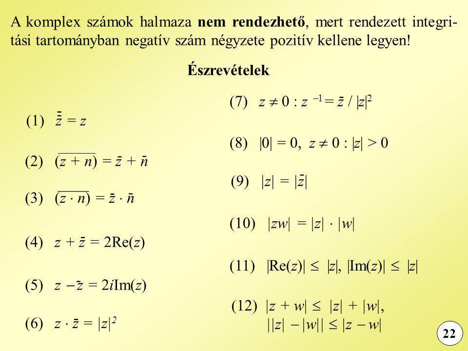 22 A komplex számok halmaza nem rendezhető, mert rendezett integri- tási tartományban negatív szám négyzete pozitív kellene legyen.