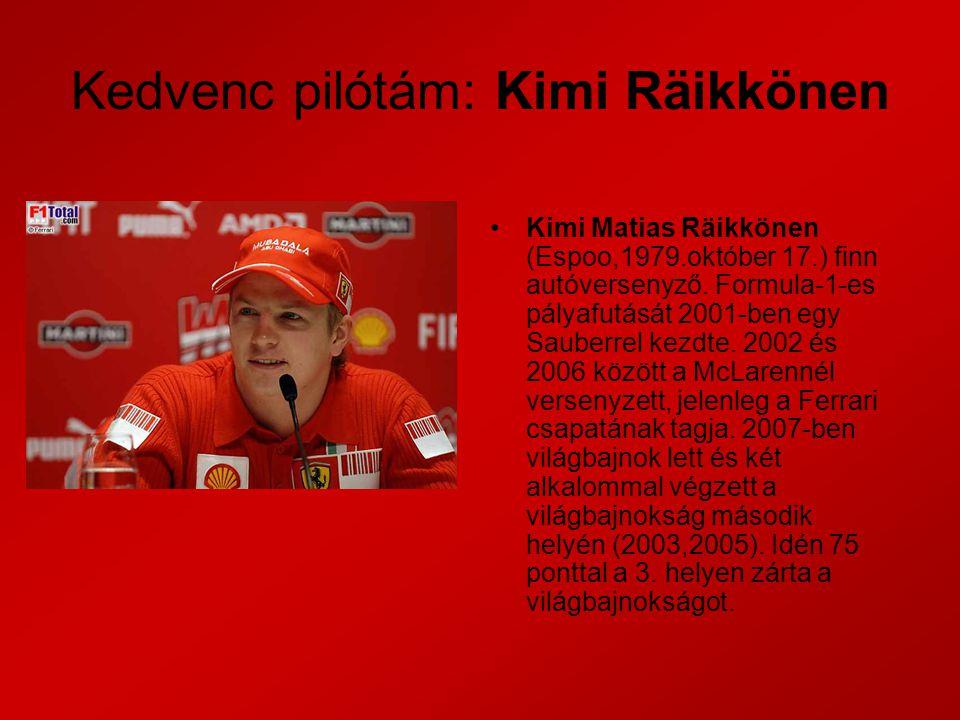 Kedvenc pilótám: Kimi Räikkönen Kimi Matias Räikkönen (Espoo,1979.október 17.) finn autóversenyző.