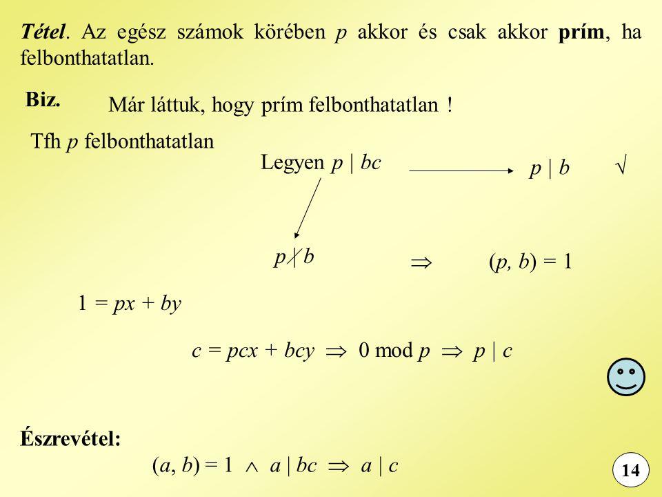 Biz. 14 Tfh p felbonthatatlan Tétel. Az egész számok körében p akkor és csak akkor prím, ha felbonthatatlan. Már láttuk, hogy prím felbonthatatlan ! L