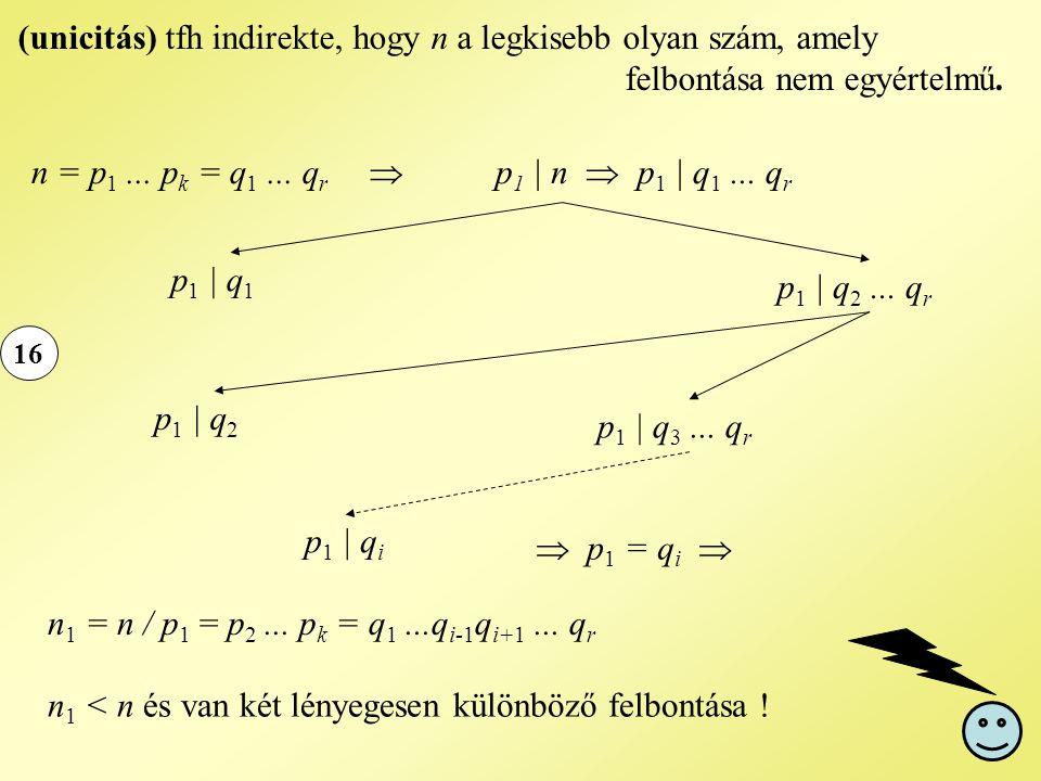 16 (unicitás) tfh indirekte, hogy n a legkisebb olyan szám, amely felbontása nem egyértelmű. n = p 1... p k = q 1... q r  p 1 | n  p 1 | q 1... q r