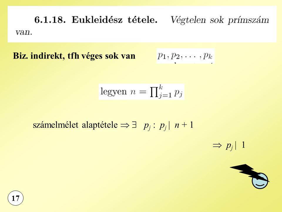 17 Biz. indirekt, tfh véges sok van számelmélet alaptétele   p j : p j | n + 1  p j | 1