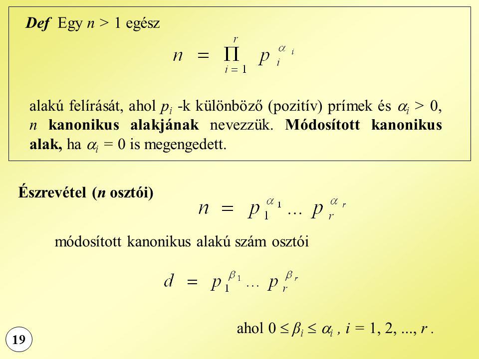 19 Def Egy n > 1 egész alakú felírását, ahol p i -k különböző (pozitív) prímek és  i > 0, n kanonikus alakjának nevezzük. Módosított kanonikus alak,