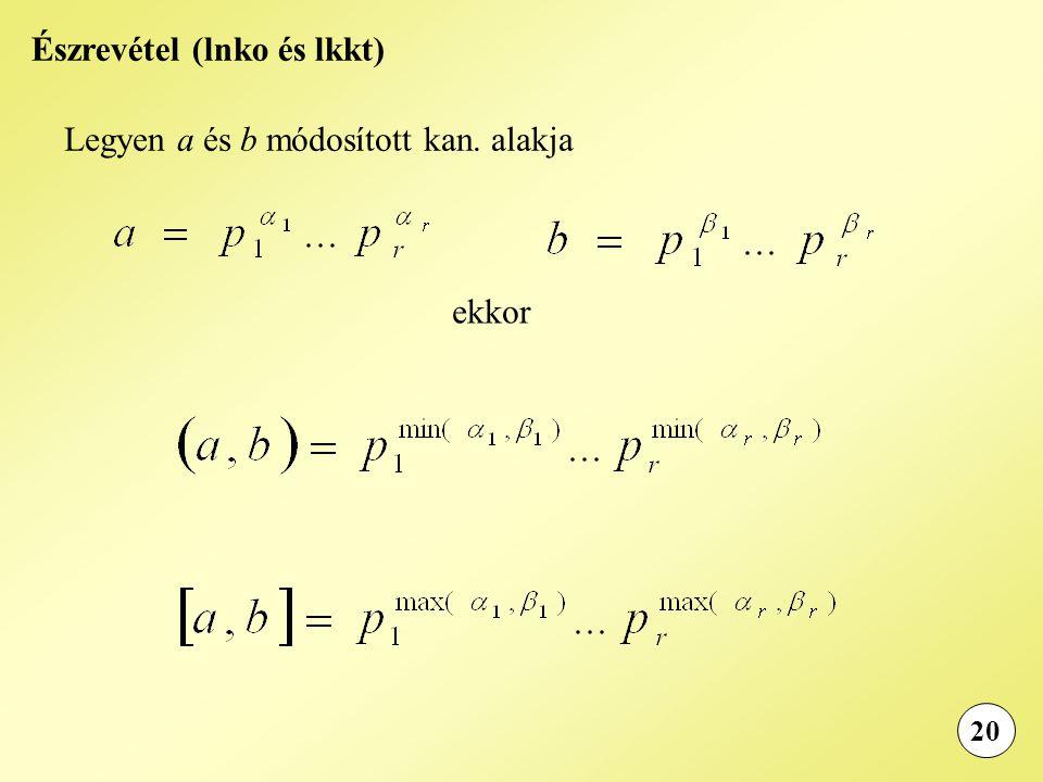 20 Észrevétel (lnko és lkkt) Legyen a és b módosított kan. alakja ekkor