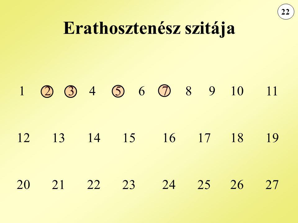 22 Erathosztenész szitája 1234 5 678910 11 12 13 14 15 16 17 18 19 20 21 22 23 24 25 26 27