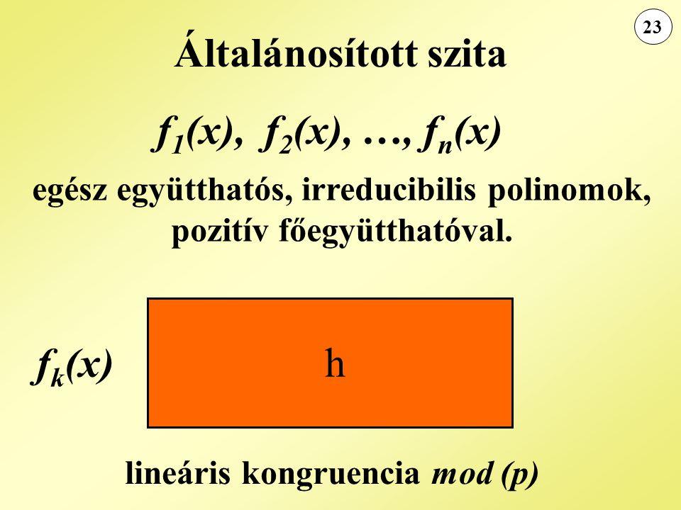 Általánosított szita f 1 (x), f 2 (x), …, f n (x) egész együtthatós, irreducibilis polinomok, pozitív főegyütthatóval. lineáris kongruencia mod (p) f