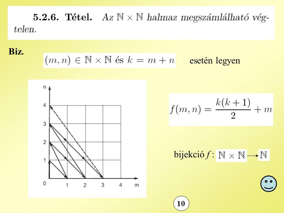 10 Biz. esetén legyen bijekció f :