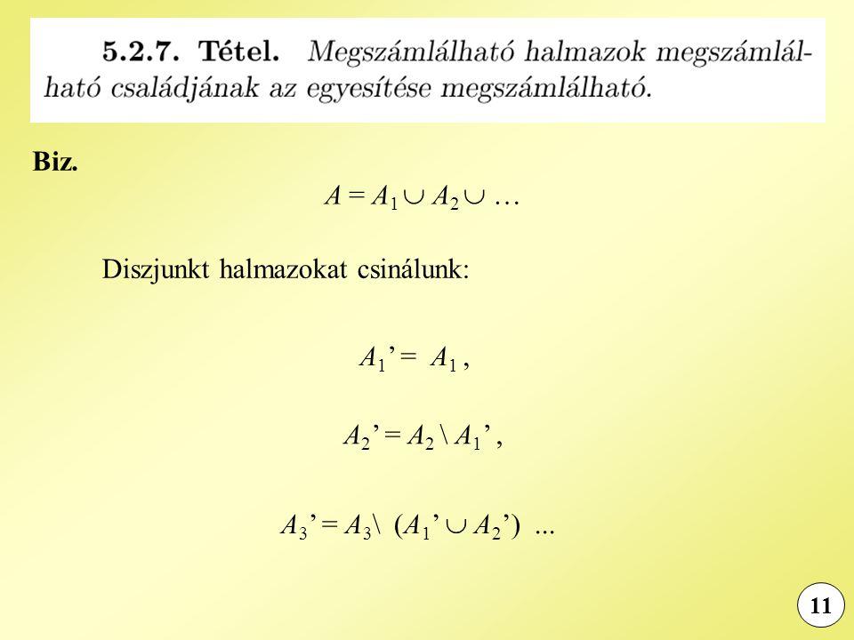 11 Biz. A = A 1  A 2  … Diszjunkt halmazokat csinálunk: A 1 ' = A 1, A 2 ' = A 2 \ A 1 ', A 3 ' = A 3 \ (A 1 '  A 2 ')...