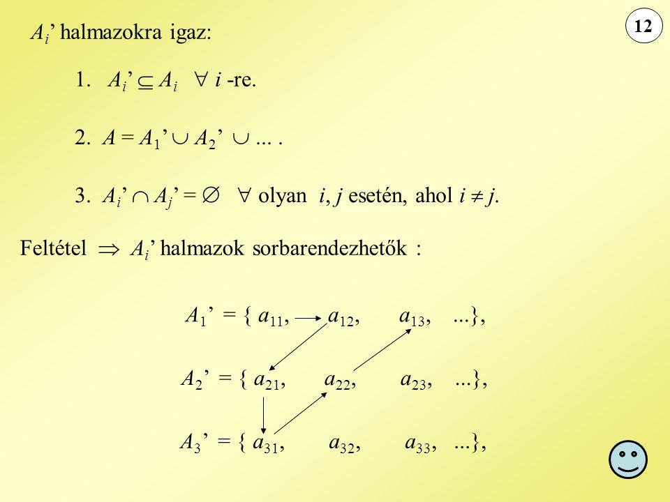 12 A i ' halmazokra igaz: 1. A i '  A i  i -re. 2. A = A 1 '  A 2 ' .... 3. A i '  A j ' =   olyan i, j esetén, ahol i  j. Feltétel  A i ' ha
