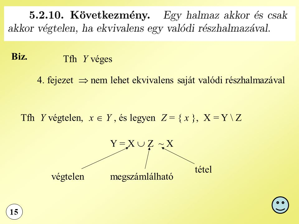 15 Biz. Tfh Y véges 4. fejezet  nem lehet ekvivalens saját valódi részhalmazával Tfh Y végtelen, x  Y, és legyen Z = { x }, X = Y \ Z Y = X  Z ~ X