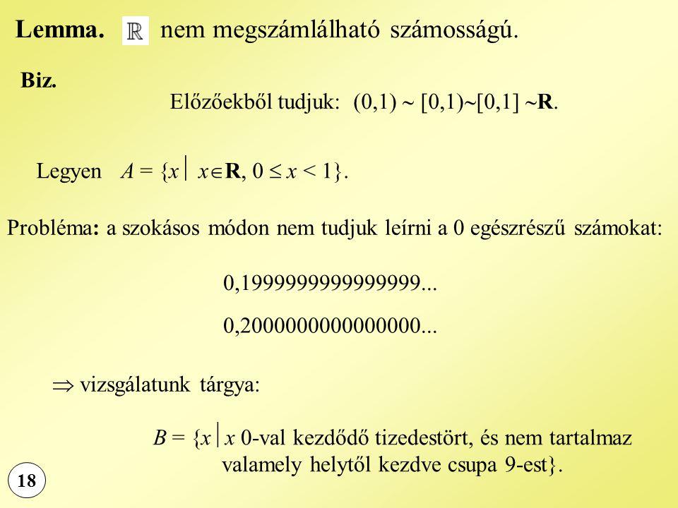 Lemma. nem megszámlálható számosságú. 18 Biz. Előzőekből tudjuk: (0,1)  [0,1)  [0,1]  R. Legyen A = {x  x  R, 0  x < 1}. Probléma: a szokásos mó