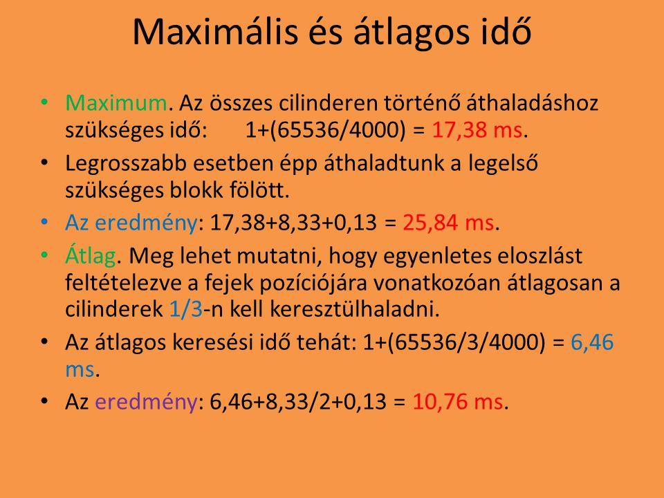 Maximális és átlagos idő Maximum. Az összes cilinderen történő áthaladáshoz szükséges idő: 1+(65536/4000) = 17,38 ms. Legrosszabb esetben épp áthaladt