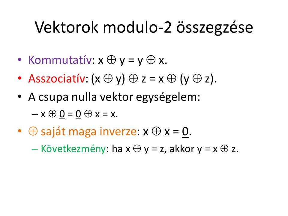 Vektorok modulo-2 összegzése Kommutatív: x  y = y  x. Asszociatív: (x  y)  z = x  (y  z). A csupa nulla vektor egységelem: – x  0 = 0  x = x.