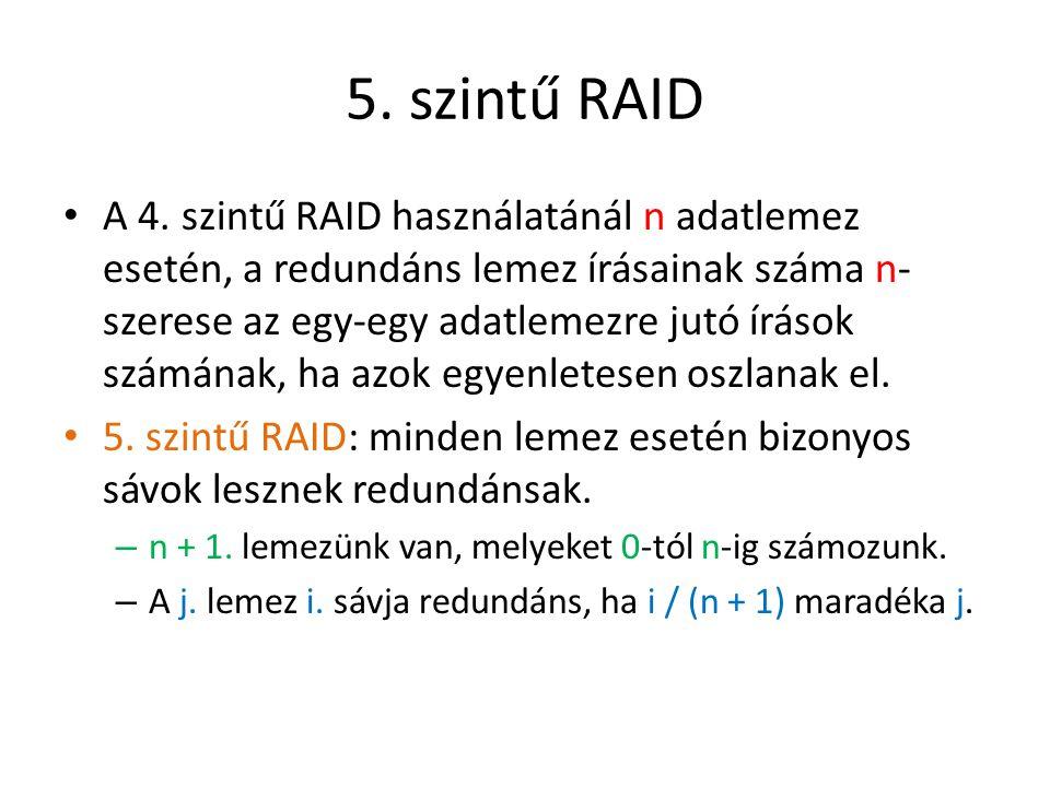 5. szintű RAID A 4. szintű RAID használatánál n adatlemez esetén, a redundáns lemez írásainak száma n- szerese az egy-egy adatlemezre jutó írások szám