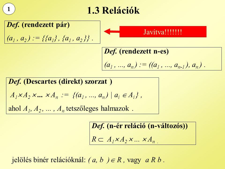 1.3 Relációk 1 Def. (rendezett pár) (a 1, a 2 ) := {{a 1 }, {a 1, a 2 }}. Def. (rendezett n-es) (a 1,..., a n ) := ((a 1,..., a n-1 ), a n ). Def. (De