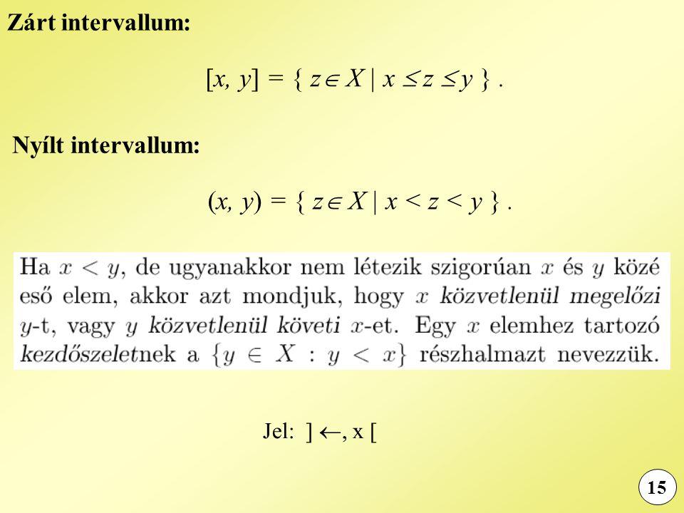 15 Zárt intervallum: [x, y] = { z  X | x  z  y }. Nyílt intervallum: (x, y) = { z  X | x < z < y }. Jel: ] , x [