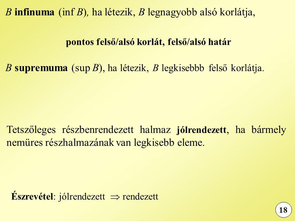 18 B infinuma (inf B), ha létezik, B legnagyobb alsó korlátja, B supremuma (sup B), ha létezik, B legkisebbb felső korlátja.