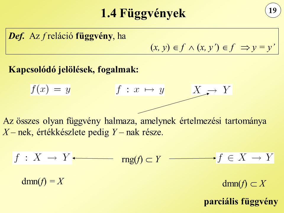 19 1.4 Függvények Def. Az f reláció függvény, ha (x, y)  f  (x, y')  f  y = y' Kapcsolódó jelölések, fogalmak: Az összes olyan függvény halmaza, a