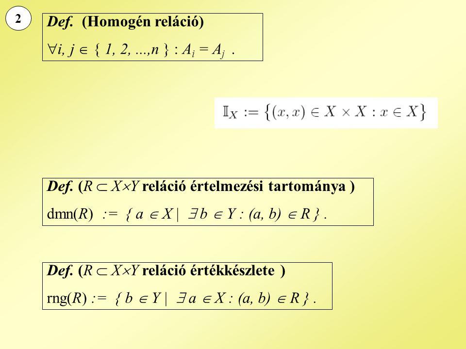 2 Def. (Homogén reláció)  i, j  { 1, 2,...,n } : A i = A j. Def. (R  X  Y reláció értelmezési tartománya ) dmn(R) := { a  X |  b  Y : (a, b) 