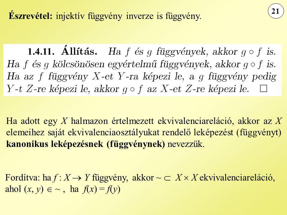21 Ha adott egy X halmazon értelmezett ekvivalenciareláció, akkor az X elemeihez saját ekvivalenciaosztályukat rendelő leképezést (függvényt) kanonikus leképezésnek (függvénynek) nevezzük.