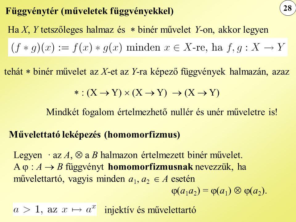 Függvénytér (műveletek függvényekkel) Ha X, Y tetszőleges halmaz és  binér művelet Y-on, akkor legyen tehát  binér művelet az X-et az Y-ra képező fü