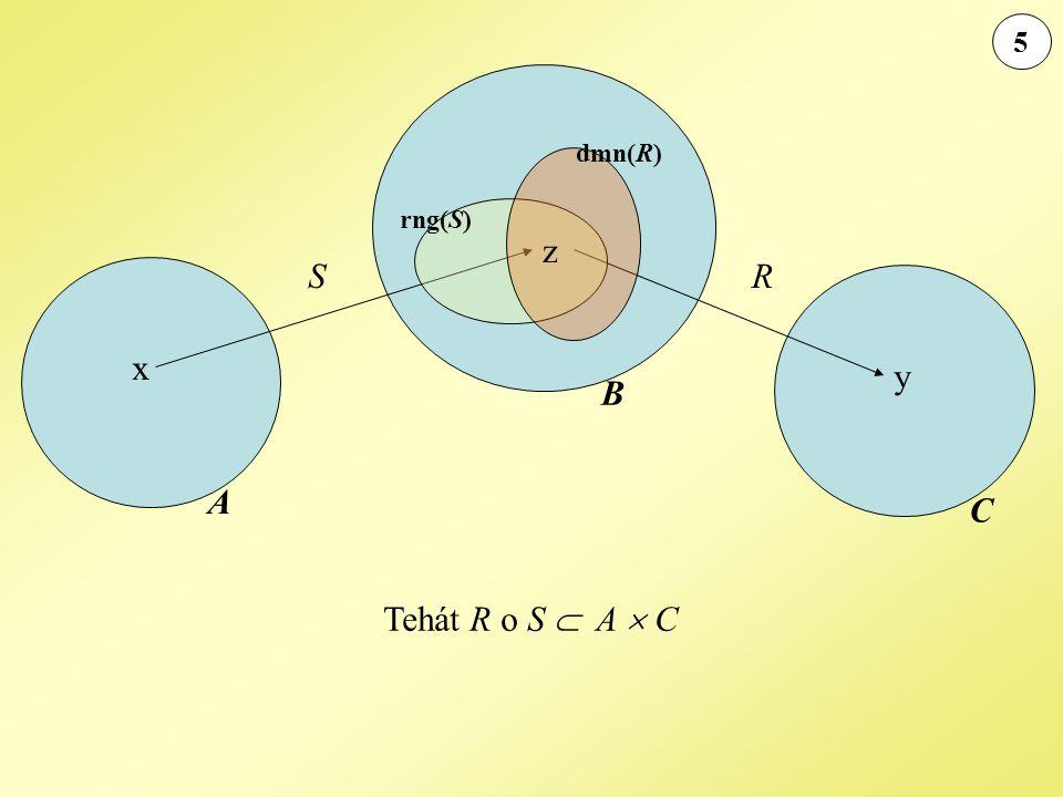 6 Legyen A = { 1, 2, 3, 4, 5}, B = { 6, 8, 10, 12, 14}, C = { 30, 36, 42, 48, 54}, D = { 2, 3 }, S  A  B, ahol (a, b)  S, ha b = 2a, R  B  C, ahol (a, b)  R, ha b = 3a.