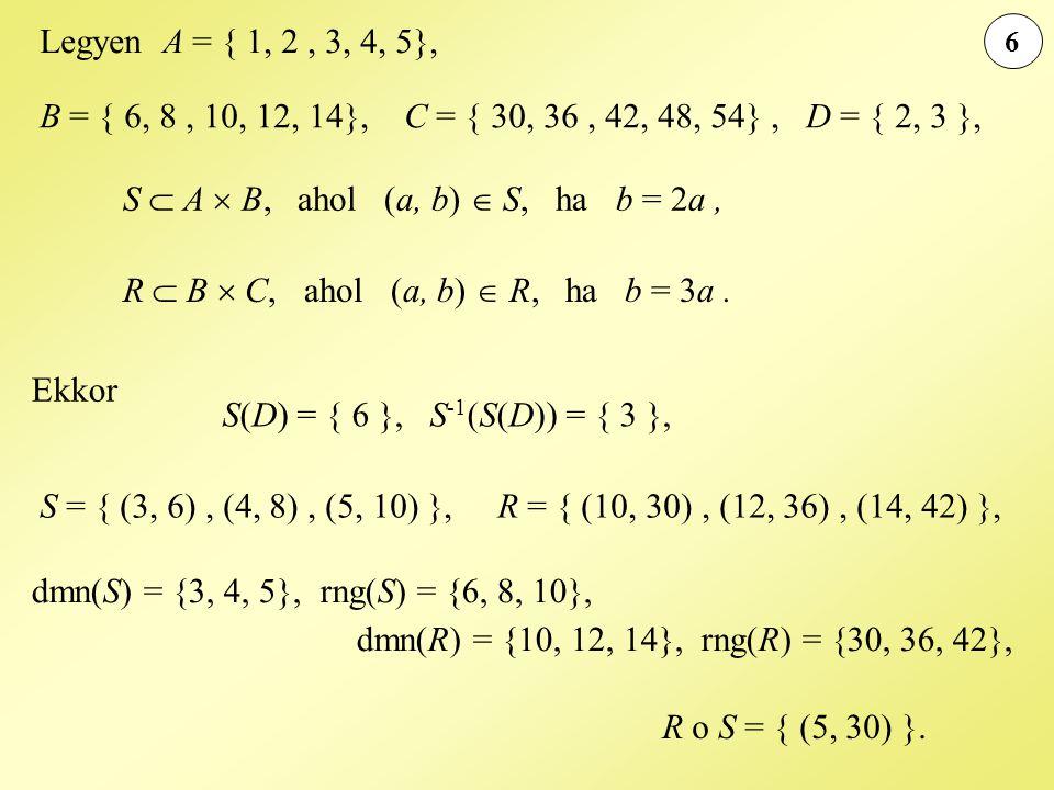 6 Legyen A = { 1, 2, 3, 4, 5}, B = { 6, 8, 10, 12, 14}, C = { 30, 36, 42, 48, 54}, D = { 2, 3 }, S  A  B, ahol (a, b)  S, ha b = 2a, R  B  C, aho