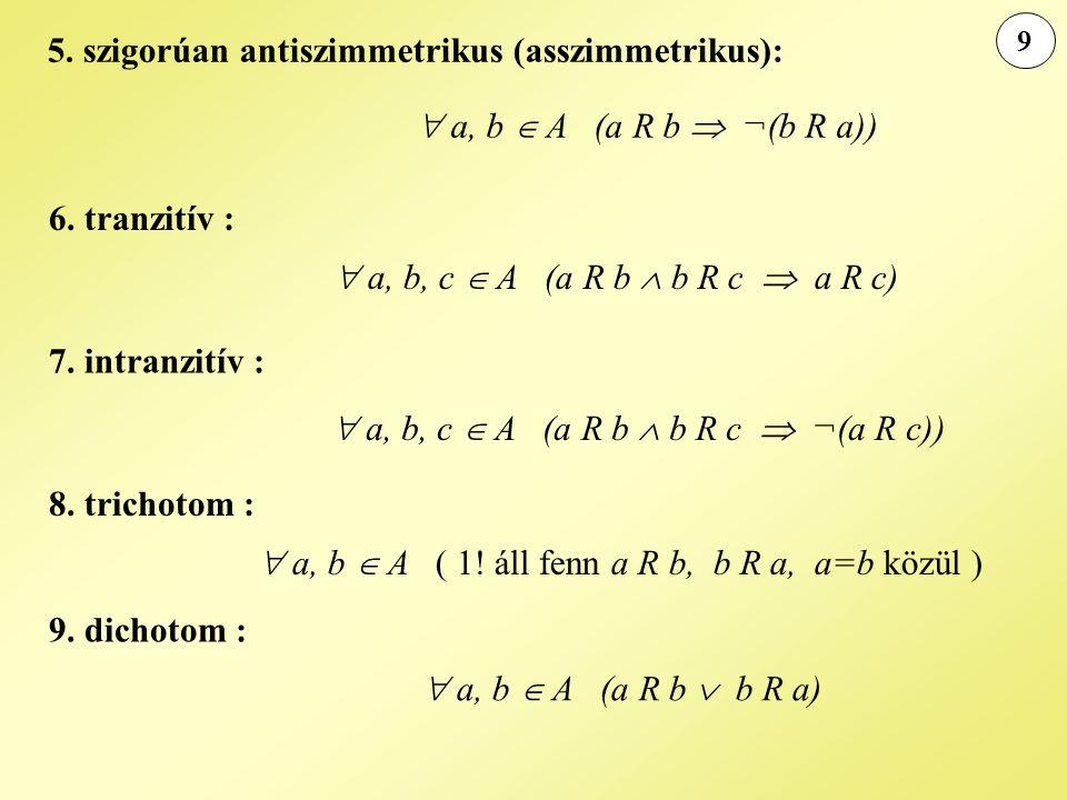 9 5. szigorúan antiszimmetrikus (asszimmetrikus):  a, b  A (a R b  ¬(b R a)) 6. tranzitív :  a, b, c  A (a R b  b R c  a R c) 7. intranzitív :