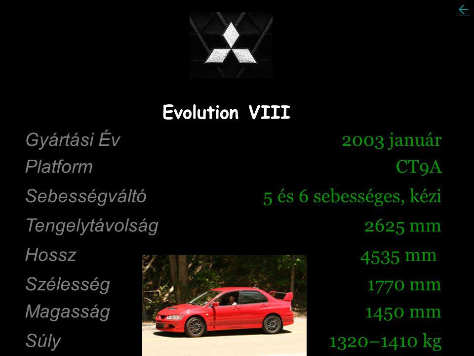 Evolution VIII Gyártási Év 2003 január Platform CT9A Sebességváltó 5 és 6 sebességes, kézi Tengelytávolság 2625 mm Hossz 4535 mm Szélesség 1770 mm Magasság 1450 mm Súly 1320–1410 kg 