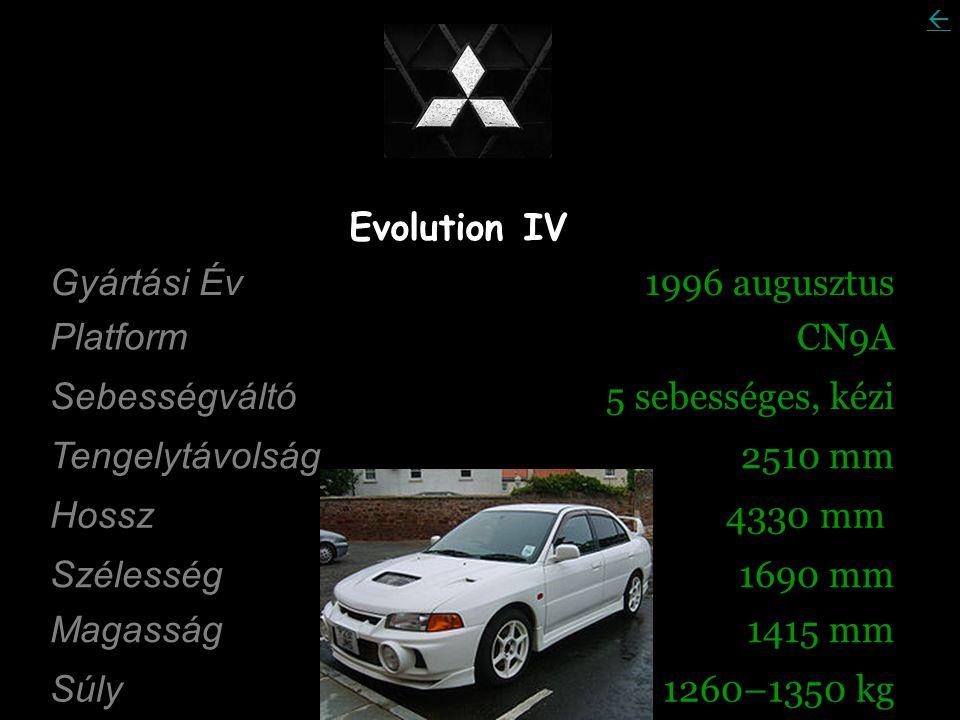 Evolution IV Gyártási Év 1996 augusztus Platform CN9A Sebességváltó 5 sebességes, kézi Tengelytávolság 2510 mm Hossz 4330 mm Szélesség 1690 mm Magasság 1415 mm Súly 1260–1350 kg 