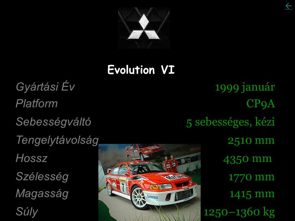 Evolution VI Gyártási Év 1999 január Platform CP9A Sebességváltó 5 sebességes, kézi Tengelytávolság 2510 mm Hossz 4350 mm Szélesség 1770 mm Magasság 1415 mm Súly 1250–1360 kg 