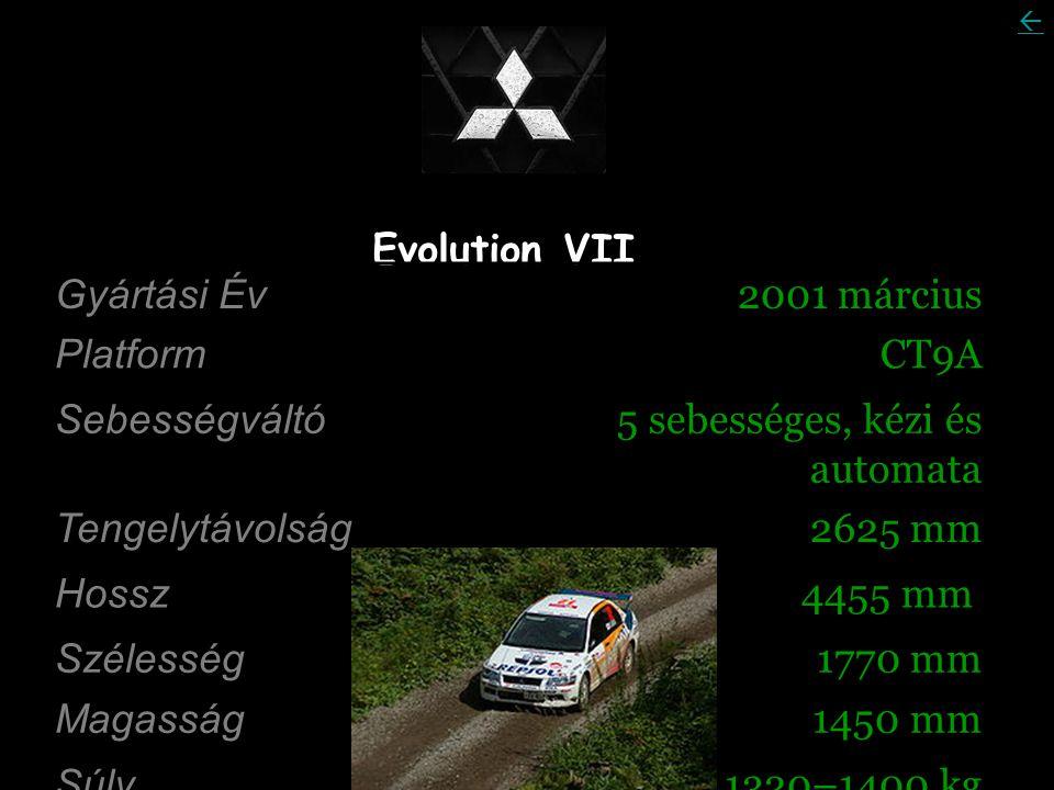 Evolution VII Gyártási Év 2001 március Platform CT9A Sebességváltó 5 sebességes, kézi és automata Tengelytávolság 2625 mm Hossz 4455 mm Szélesség 1770 mm Magasság 1450 mm Súly 1320–1400 kg 
