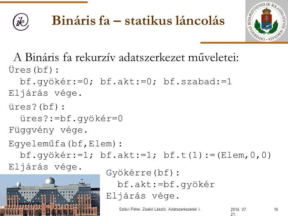 Bináris fa – statikus láncolás 2014. 07. 21. 16Szlávi Péter, Zsakó László: Adatszerkezetek I. A Bináris fa rekurzív adatszerkezet műveletei: Üres(bf):