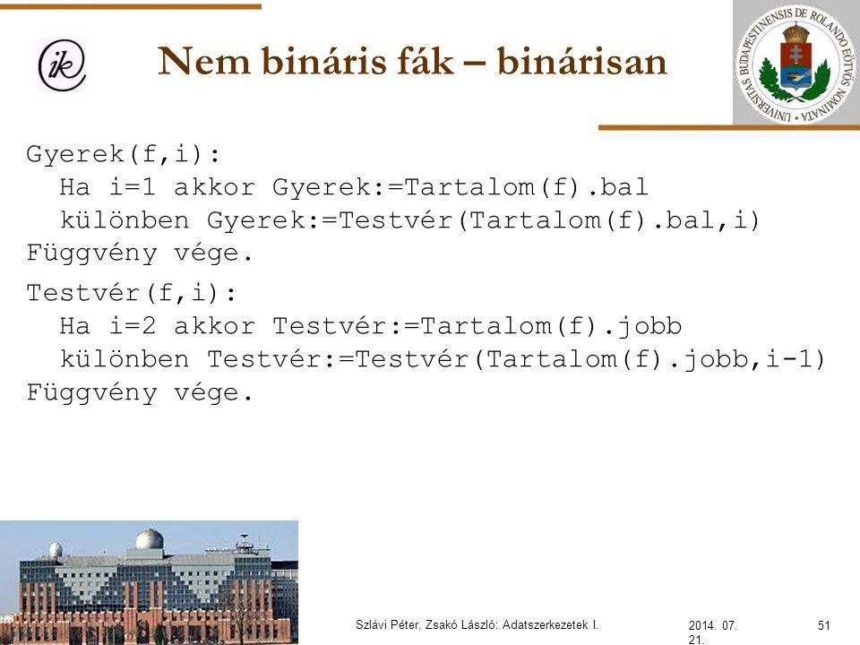 Nem bináris fák – binárisan 2014. 07. 21. 51Szlávi Péter, Zsakó László: Adatszerkezetek I. Gyerek(f,i): Ha i=1 akkor Gyerek:=Tartalom(f).bal különben