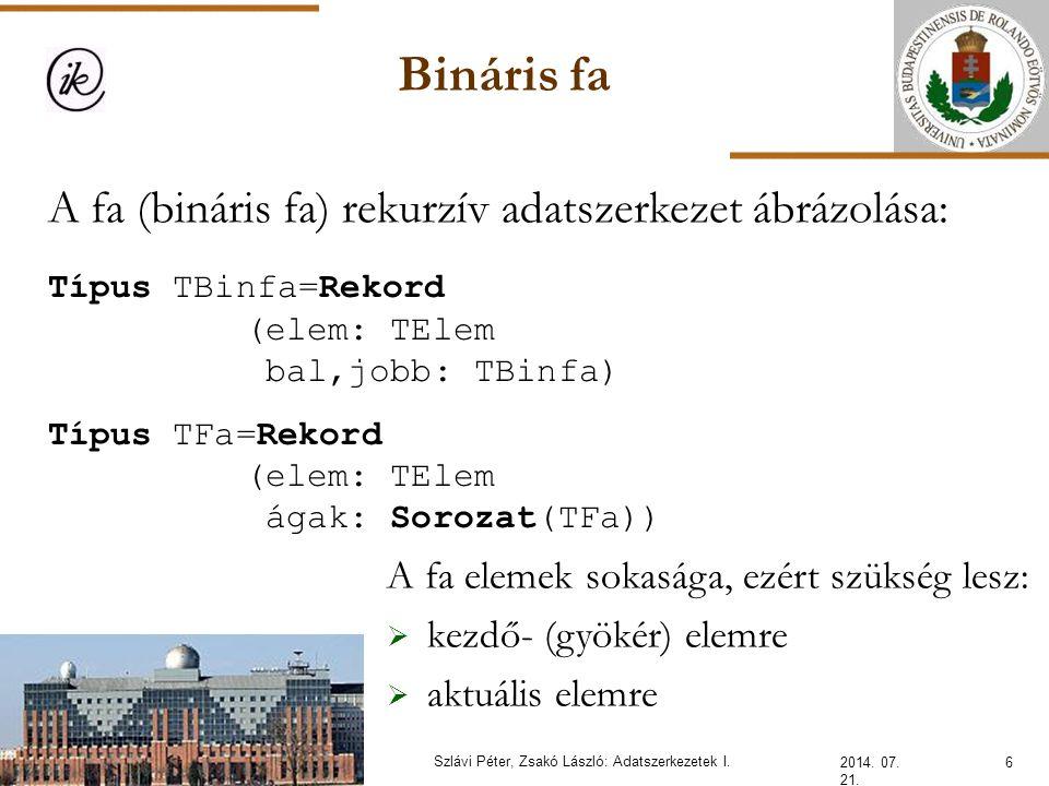 Bináris fa – statikus láncolás 2014.07. 21. 17Szlávi Péter, Zsakó László: Adatszerkezetek I.