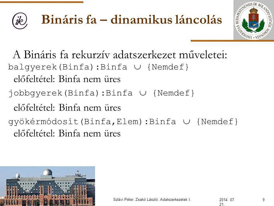 Bináris fa – statikus láncolás 2014.07. 21. 20Szlávi Péter, Zsakó László: Adatszerkezetek I.