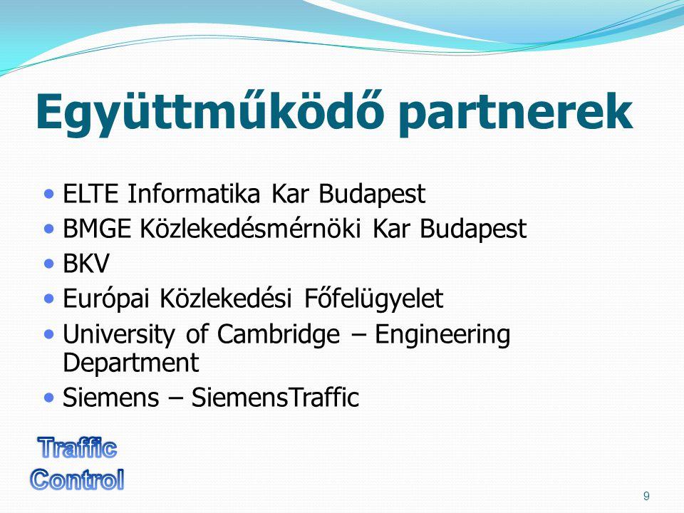 Együttműködő partnerek ELTE Informatika Kar Budapest BMGE Közlekedésmérnöki Kar Budapest BKV Európai Közlekedési Főfelügyelet University of Cambridge – Engineering Department Siemens – SiemensTraffic 9